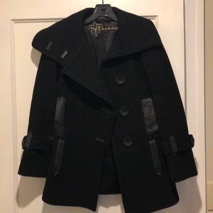 Designer Mackage Wool with Leather Detail Peacoat